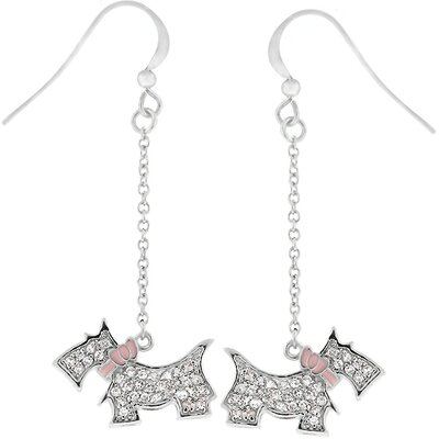 Kate Bissett Silver-Tone Cubiz Zirconia Scottie Dog Drop Earrings