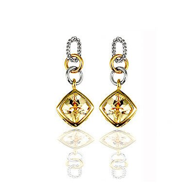 Two-Tone Champagne Cubiz Zirconia Drop Earrings
