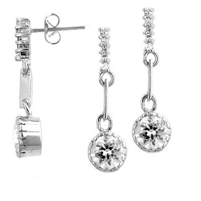 Silver-Tone Clear Cubiz Zirconia Drop Earrings