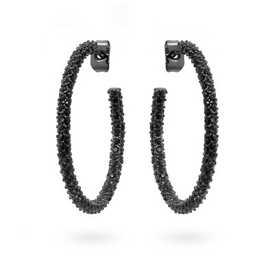 Pave Onyx Silver-Tone Hoop Earrings