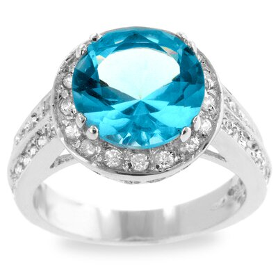 Silver-Tone Light Blue Cubic Zirconia Cocktail Ring