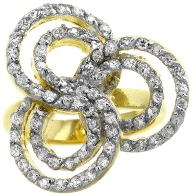 Gold-Tone Swirls Cubic Zirconia Flower Cocktail Ring