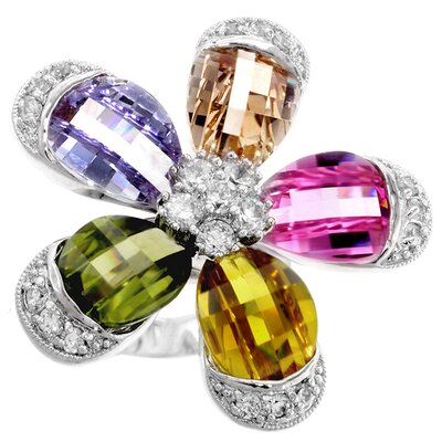 Silver-Tone Multicolored Cubic Zirconia Flower Ring