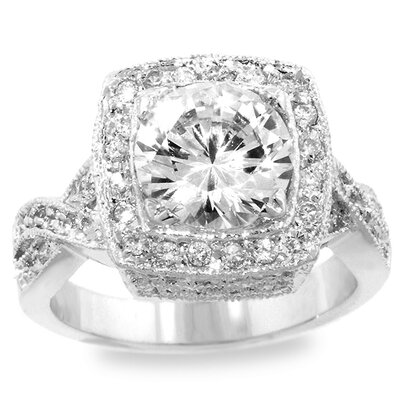 Silver-Tone Pave Cocktail Cubic Zirconia Ring
