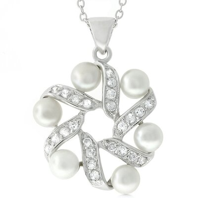 Silver-Tone Faux Pearl and Cubic Zirconia Wreath Necklace