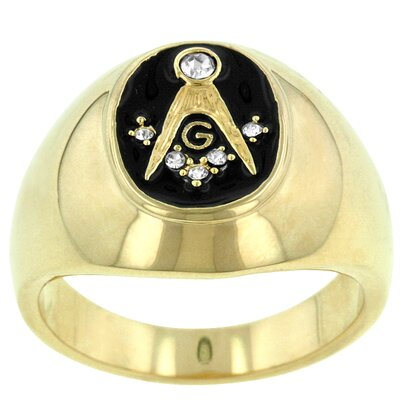 J Goodin Round Cut Cubic Zirconia Men's Masonic Ring