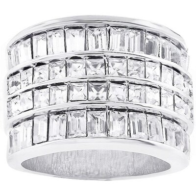Silver-Tone Four-Row Cubic Zirconia Cocktail Ring
