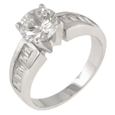 Clear Cubic Zirconia Accents Antoinette Engagement Ring
