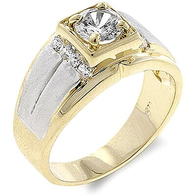Men's Two-Tone Cubic Zirconia Ring