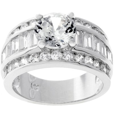Silver-Tone Round-Cut Bridal Inspired Cubic Zirconia Ring