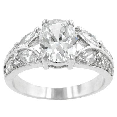 Oval Marquise and Round Cut Cubic Zirconia Corrine Engagement Ring