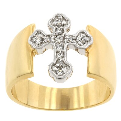 Round Cut Clear Cubic Zirconia Accents Tutone Cross Ring
