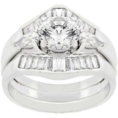 J Goodin Sterling Silver Round-Cut Cubic Zirconia Engagement Ring