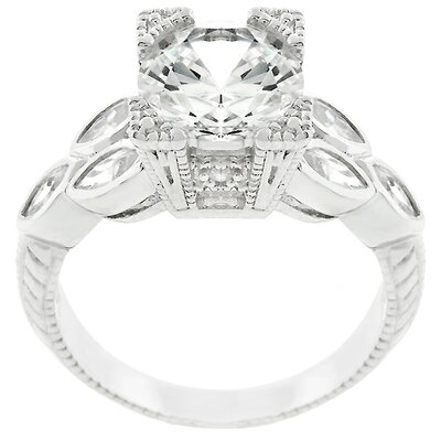 Sterling Silver Vintage Inspired Cubic Zirconia Ring