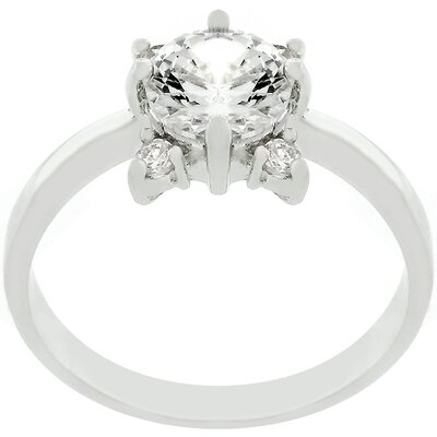 Silver-Tone and Cubic Zirconia Flower Ring