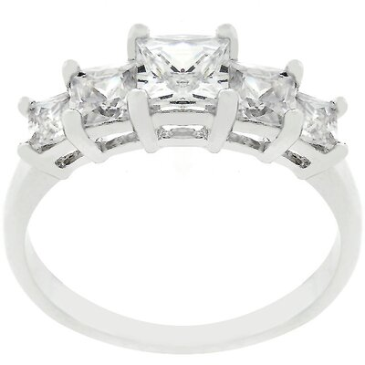 J Goodin Silver-Tone Cubic Zirconia Five-Stone Engagement Ring