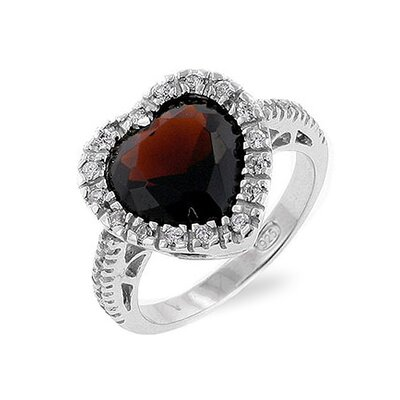 Kate Bissett Sterling Silver Chocolate Cubic Zirconia Heart Ring