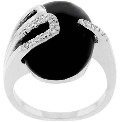 Silver-Tone Black Enamel Cubic Zirconia Fashion Ring