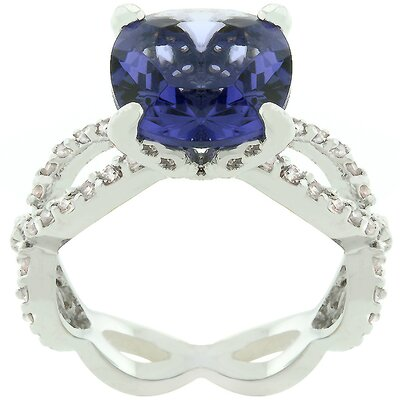 "Kate Bissett Purple and White Cubic Zirconia ""Uptown Classic"" Ring"