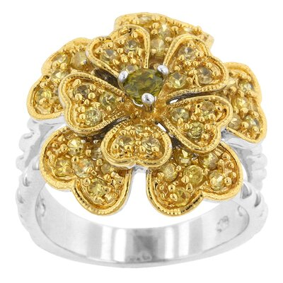 Green and Clear Cubic Zirconia Bloom of Hearts Ring