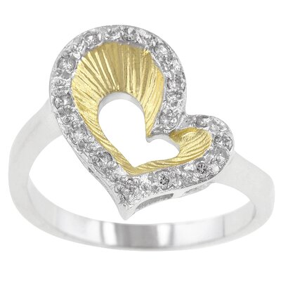 Clear Cubic Zirconia Two Toned Heart Ring with Accents