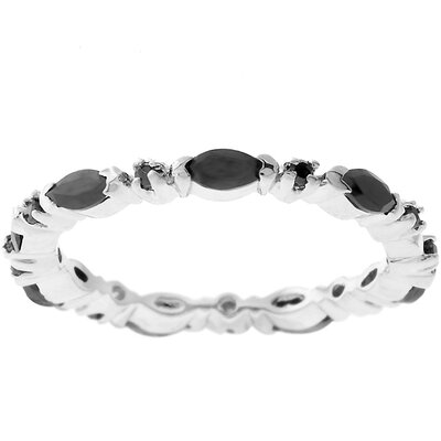 J Goodin Silvertone Black and White Cubic Zirconia Eternity Band