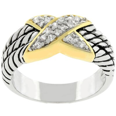 J Goodin Gold-Plated 'X' Cubic Zirconia Rope Ring