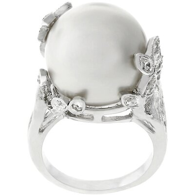 Silver-Tone White Faux Pearl Cubic Zirconia Leaves Ring