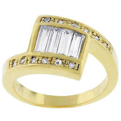 Gold-Tone Baguette Clear Cubic Zirconia Ring