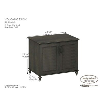 "kathy ireland Office by Bush Volcano Dusk 2-Door 34"" Cabinet with Louvered Accents in Kona Coast Espresso Finish"