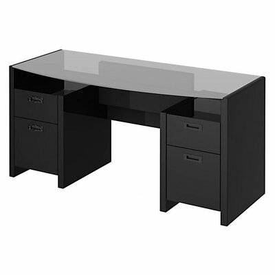 kathy ireland Office by Bush New York Skyline 63 Bow-front Double Pedestal Executive Desk