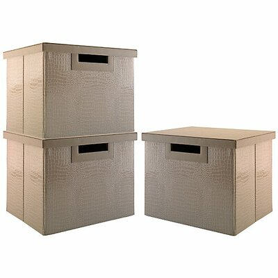 NEW YORK SKYLINE large file bin collection (3 bins) in Patent Leather Croc Beige
