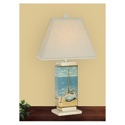 JB Hirsch Home Decor Wooden Sail Boat Table Lamp