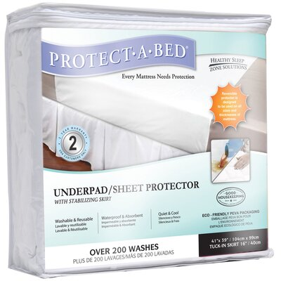 Protect-A-Bed Underpad/Sheet Terry Cloth Protector with Stabilizing Skirt