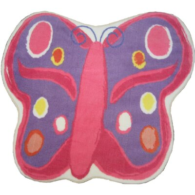 Fun Rugs Fun Shape Medium Pile Butterfly Kids Rug