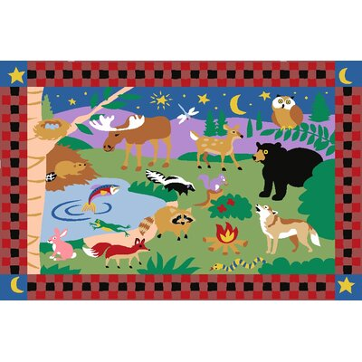 Fun Rugs Olive Kids CampFire Friends Kids Rug