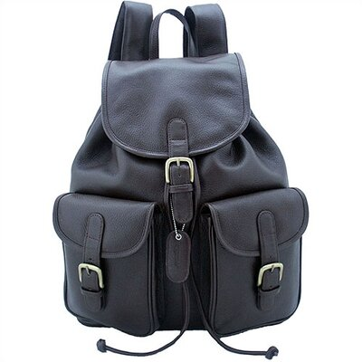 Leatherbay Backpack with Pockets in Dark Brown