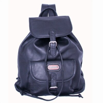 Leather Backpack with Single Pocket in Black