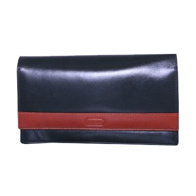 Women's Flip Top Sleek Wallet in Black/Cognac