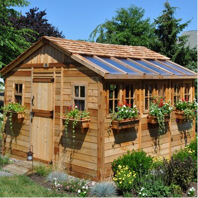 Outdoor Living Today Sunshed 12' W x 12' D Wood Garden Shed