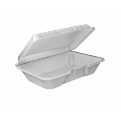 DART® 1-Compartment Foam Container 100 / Bag with Removable Hinged Lid