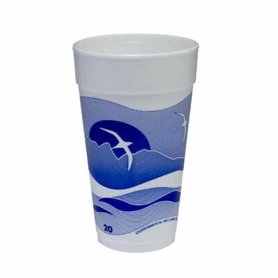 DART® 20 Oz Printed Horizon Foam Hot / Cold Cup 25 / Bag in Blueberry / White