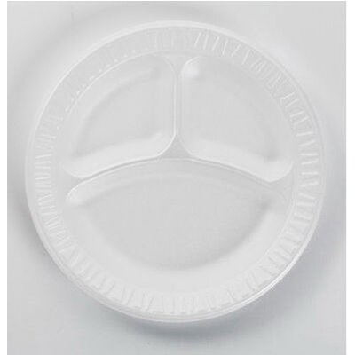 "DART® 9"" 3 Compartments Non-Laminated Foam Plastic Round Plates in White"