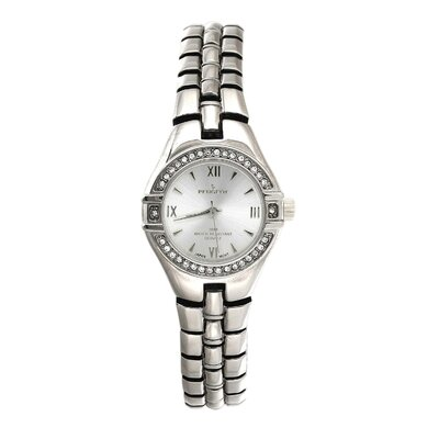 Women's Round Swarovski Watch with Crystal Bracelet in Silver Tone