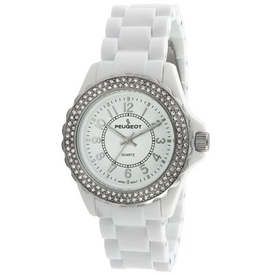Women's Round Swarovski Elements Bezel Watch in White Acrylic