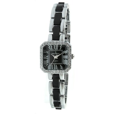 Crystal Accented Square Silver-Tone Acrylic Link Watch