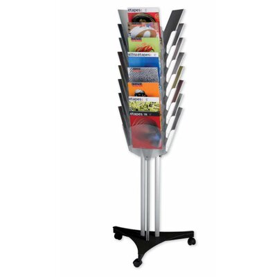 Paperflow Triple Face Mobile Literature Display with 24 Compartment