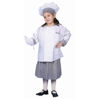 Deluxe Chef Girl with Skirt Dress Up Children's Costume Set