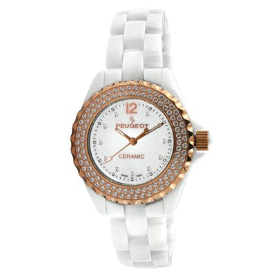 Women's Swarovski Crystal Dial Watch in White with Gold Tone Hands