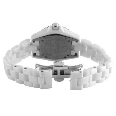 Peugeot Swiss Women's Swarovski Crystal Dial Watch in White with Silver Tone Hands